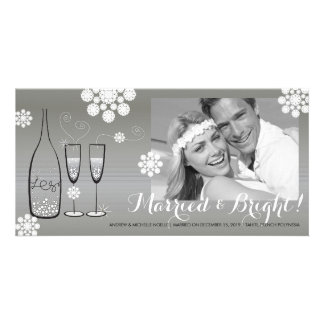 Silver Champagne Cheers Wedding Holiday Greetings Photo Card