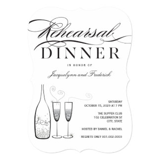Silver Champagne Rehearsal Dinner Party Invite