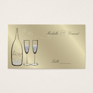 Silver Champagne Wedding Anniversary Place Cards