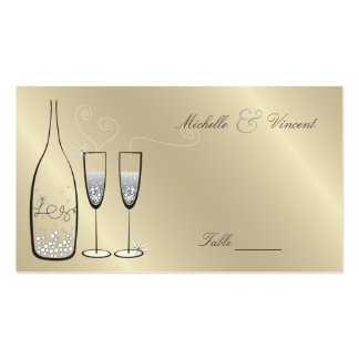 Silver Champagne Wedding Anniversary Place Cards Business Card