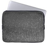 Silver Charcoal Rising Glitter Stripes Print Laptop Sleeve
