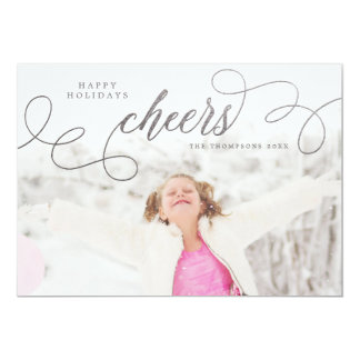 Silver Cheers Christmas Photo Greeting Cards