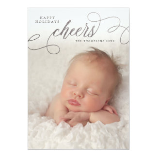 Silver Cheers Script Overlay Photo Greeting Cards