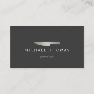 Restaurant business cards zazzle silver chef knife logo 2 for catering restaurant business card colourmoves