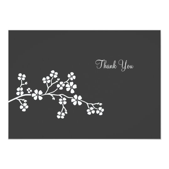 Silver Cherry Blossom Flat Card Thank you note