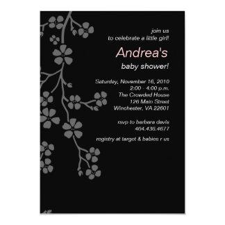 Silver Cherry Blossom Girl Baby Shower Invitation