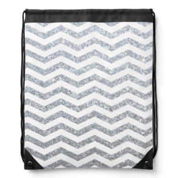 Beach Themed Silver Chevron Drawstring Backpack