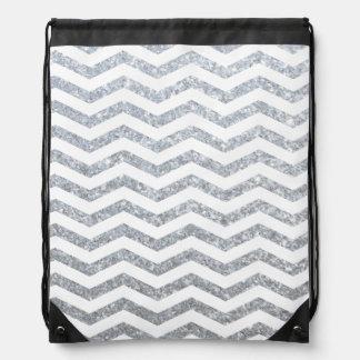 Silver Chevron Drawstring Backpack