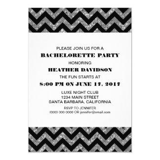 Silver Chevron Glitter Bachelorette Party Invite