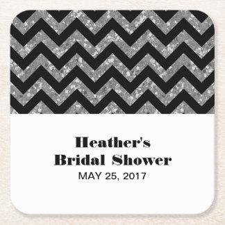 Silver Chevron Glitter Bridal Shower Paper Coaster Square Paper Coaster