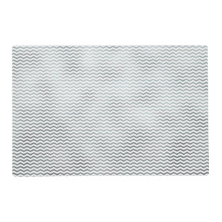 Silver Chevron Metallic Faux Foil Pattern Texture Placemat
