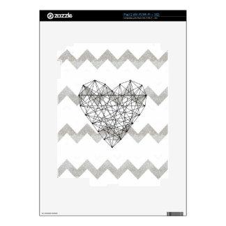 Silver Chevron Pattern, Geometric String Heart iPad 2 Decal