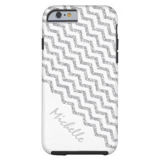 Silver Chevron White Personalized Tough iPhone 6 Case