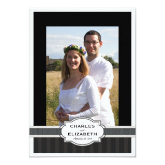 Silver Chic Photo 25th Wedding Anniversary Party Card