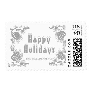 Silver Chick Happy Holidays Postage