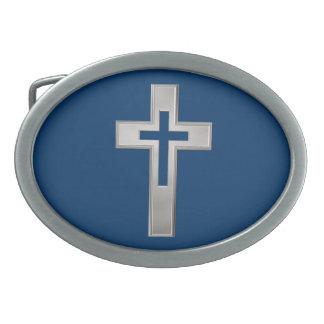 Silver Christian cross Belt Buckle