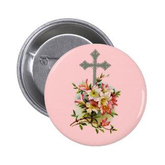 Silver Christian Cross Button