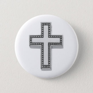 Silver Christian Cross/Easter Pinback Button