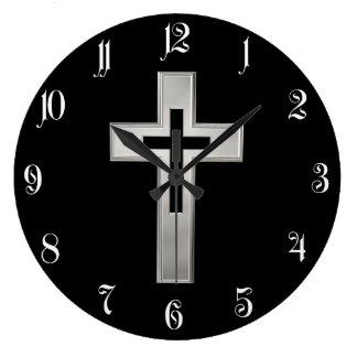 Silver Christian cross Large Clock