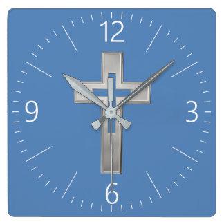 Silver Christian cross Square Wall Clock