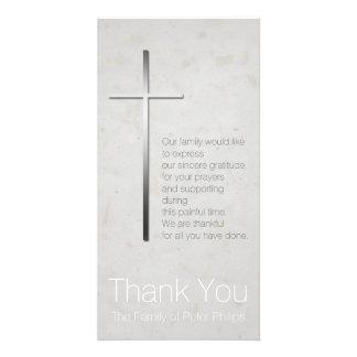 Silver Christian Cross Sympathy Thank You Photo Card