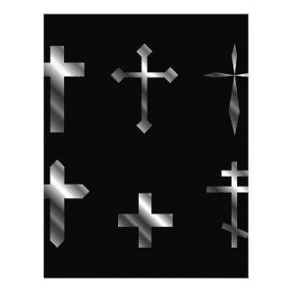 Silver christian crosses in different designs letterhead