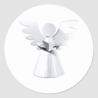 Silver Christmas angel Classic Round Sticker