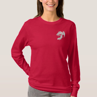 Silver Christmas Angel Embroidered Long Sleeve T-Shirt