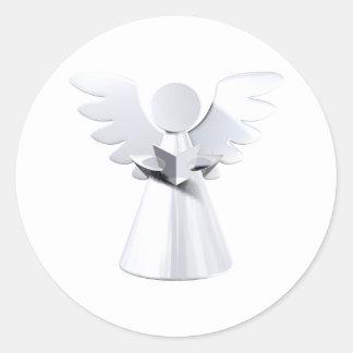 Silver Christmas angel Round Sticker