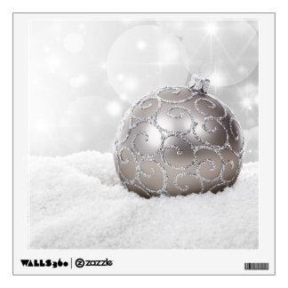 Silver Christmas Ball Ornament Wall Decal