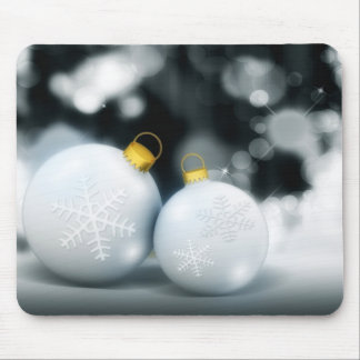Silver Christmas baubles Mouse Pad