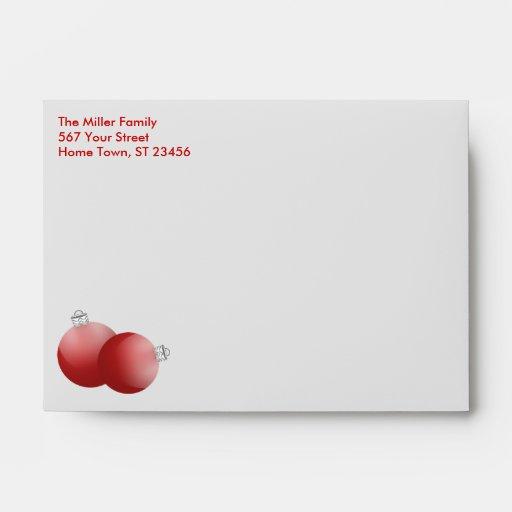 Silver Christmas Bulbs Sleeve (teal) Envelope