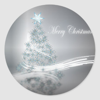 Silver Christmas Corporate Greeting Classic Round Sticker
