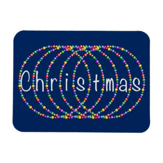 Silver Christmas Lights Design on Navy Magnet