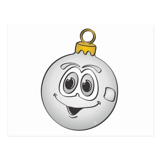 Silver Christmas Ornament Cartoon.png Postcard