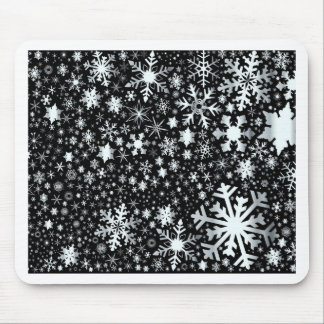 Silver Christmas Snowflakes Mouse Pad