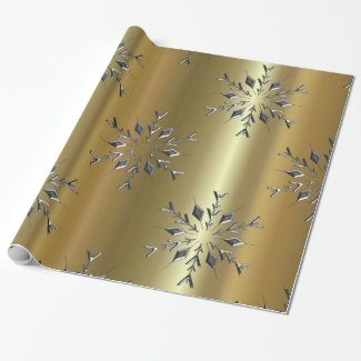 Silver Christmas Stars Wrapping Paper