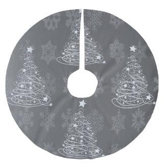 Silver Christmas Tree Modern design Brushed Polyester Tree Skirt