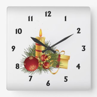 Silver Christmas with Black Numbers Square Wallclock