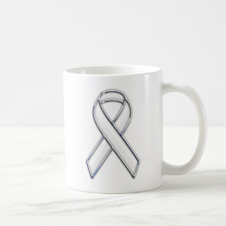 Silver Chrome Belted White Ribbon Awareness Coffee Mug