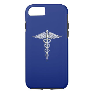 Silver Chrome Caduceus Medical Symbol on Navy Blue iPhone 7 Case