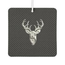 Silver Chrome Deer on Carbon Fiber Style Print Air Freshener