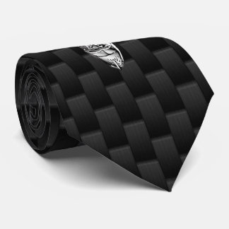 Silver Chrome Deer on Carbon Fiber Style Print Neck Tie