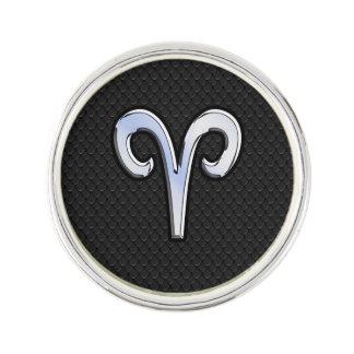 Silver Chrome Like Aries Zodiac Sign Pin