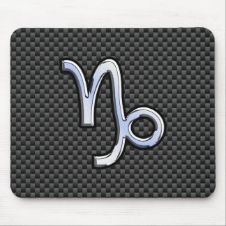 Silver Chrome like Capricorn Symbol Carbon Fiber Mouse Pad