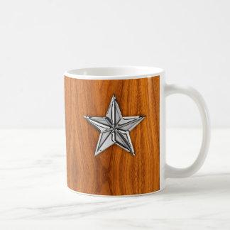 Silver Chrome Like Nautical Star on Teak Veneer Coffee Mug