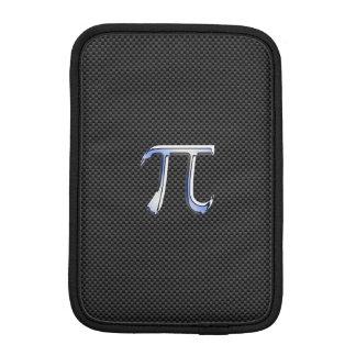 Silver Chrome Like Pi Symbol on Carbon Fiber iPad Mini Sleeve