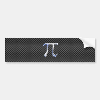 Silver Chrome Like Pi Symbol on Carbon Fiber Print Bumper Sticker