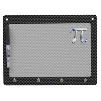 Silver Chrome Like Pi Symbol on Carbon Fiber Print Dry Erase Board With Keychain Holder