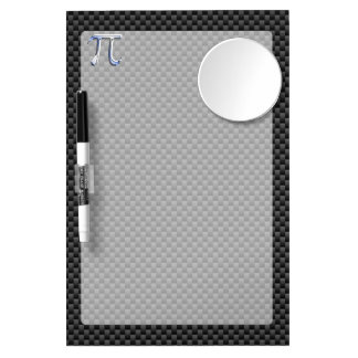 Silver Chrome Like Pi Symbol on Carbon Fiber Print Dry Erase Board With Mirror